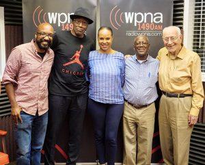 Donnie Seals Jr., Dan Davis, Doris Davenport, Herman Cage and cohost Doug Wyman.